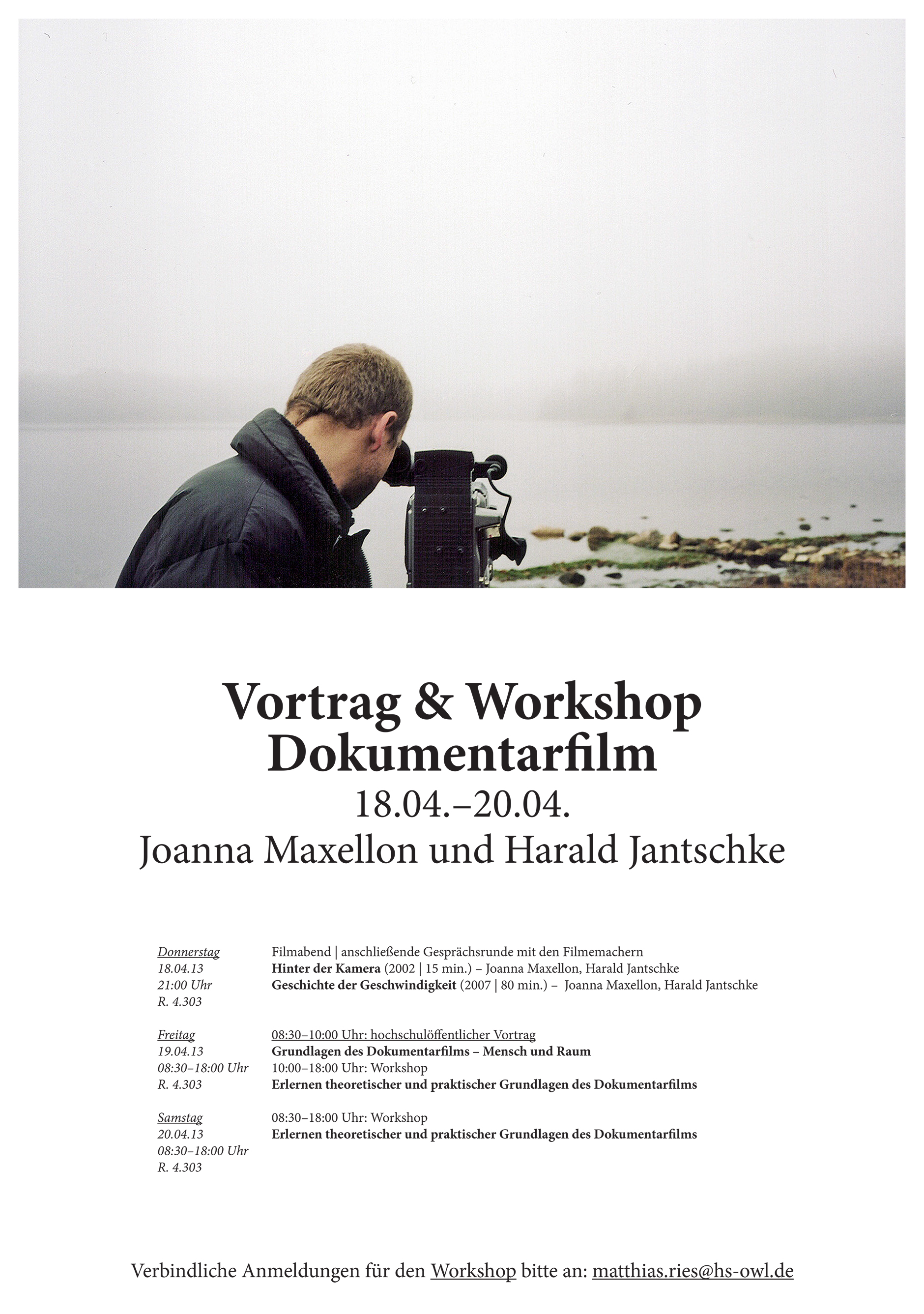 Documentary film workshop with Joanna Maxellon & Harald Jantschke to prepare the students for the bicycle/documentary excursion to the DMY in Berlin | Poster: Matthias Ries; Photo: Joanna Maxellon