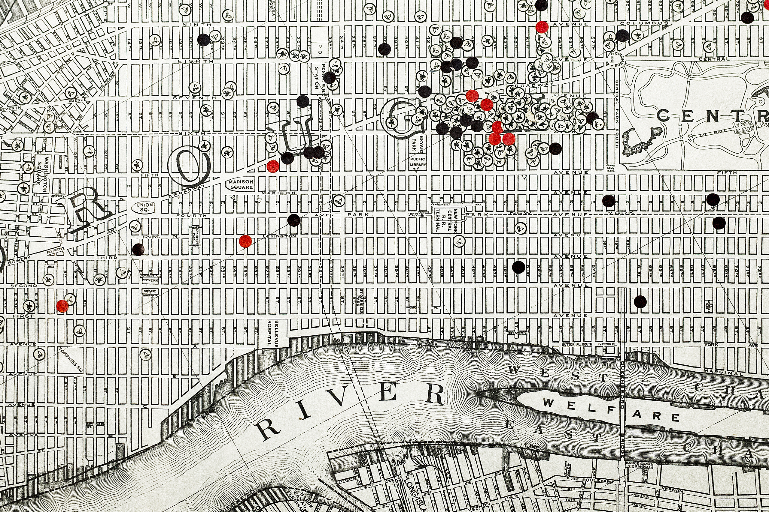 Map of Manhattan to keep track of the sailors during the era of prohibtion; New York City, New York