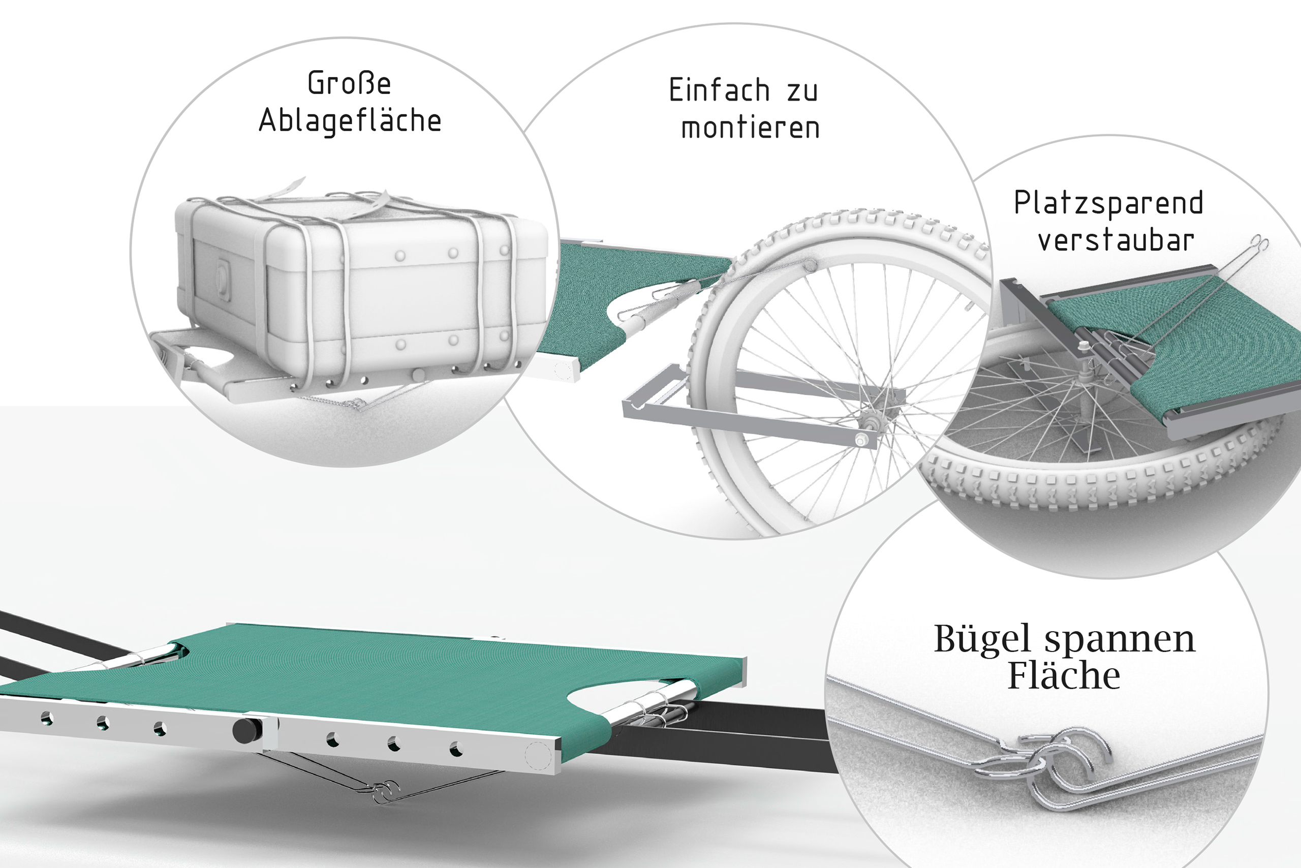 Foldable Bike Trailer – Clara Valentin | Illustration: Clara Valentin